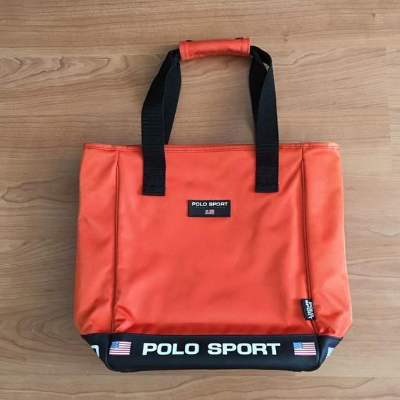 6f7a42eedb Polo Sport orange tote bags flag logo. M 5a49526b61ca10513a01ddb9